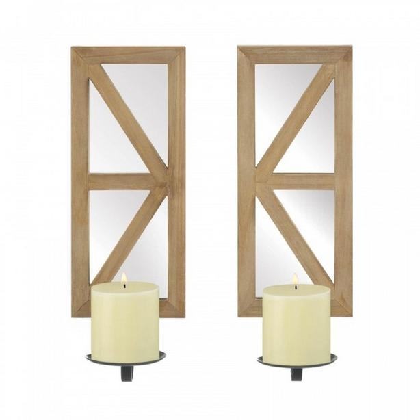 Candleholder Wall Sconce Wood with Mirrored Backs 2PC Set New