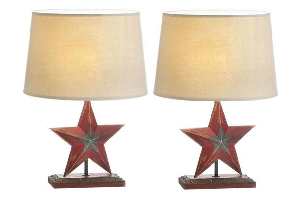 Country Farmhouse Rustic Red Star Table Lamp Wood Base Linen Shade Set of 2 New
