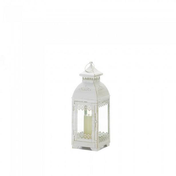 """13"""" Aged White Metal Candle Lantern Centerpiece Lace-Look Detailing 3 Lot"""