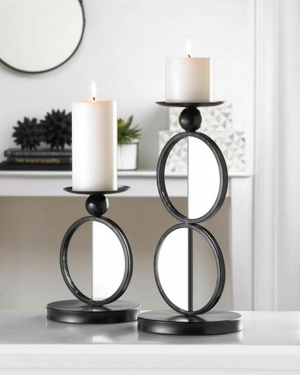 Mirrored Tabletop Candleholder Lg & Sm & Matching Wall Sconce 3PC Mixed Lot New