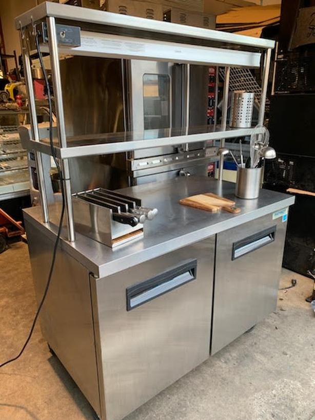PATRIOT DOUBLE DOOR UNDER COUNTER COOLER WITH OVERHEAD SHELVING AND FOOD WARMER