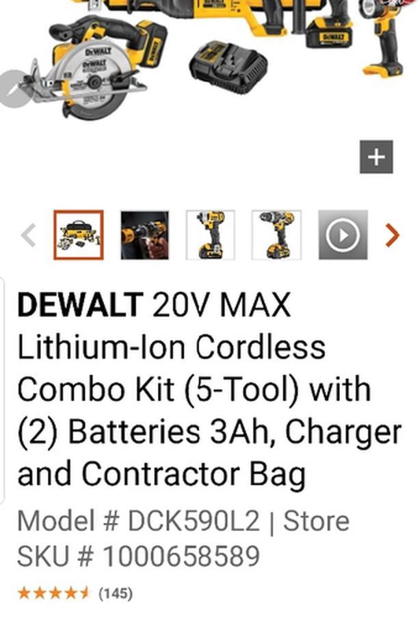 Dewalt 20-Volt MAX Lithium-Ion Cordless Combo Kit (5-Tool)