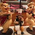 Pig and Monkey Novelty Statues