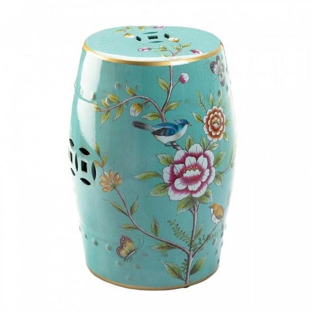 Ceramic Stool Accent Table with Flowers & Birds Motif Turquoise Blue