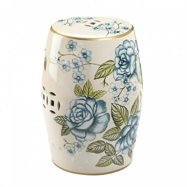 Vintage-Look Blue Floral Garden Ceramic Stool Accent Table