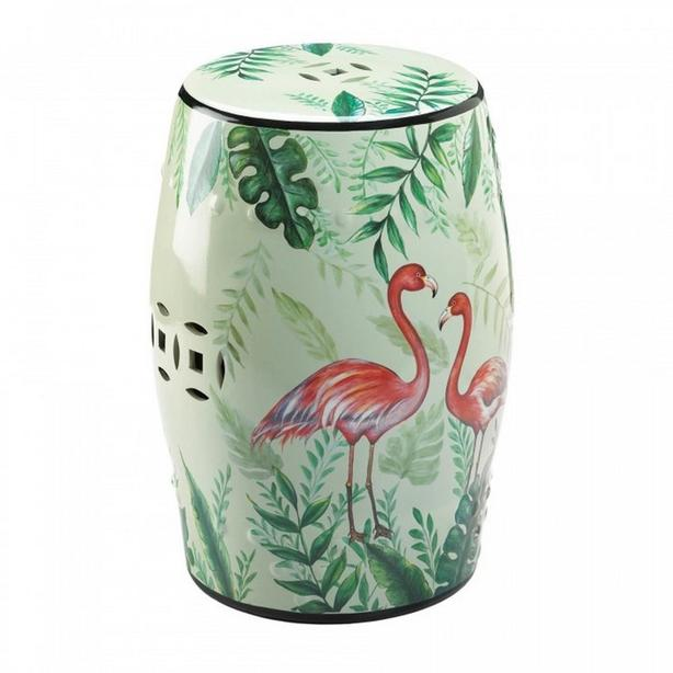 Colorful Ceramic Stool Plant Stand Accent Table with Flamingoes
