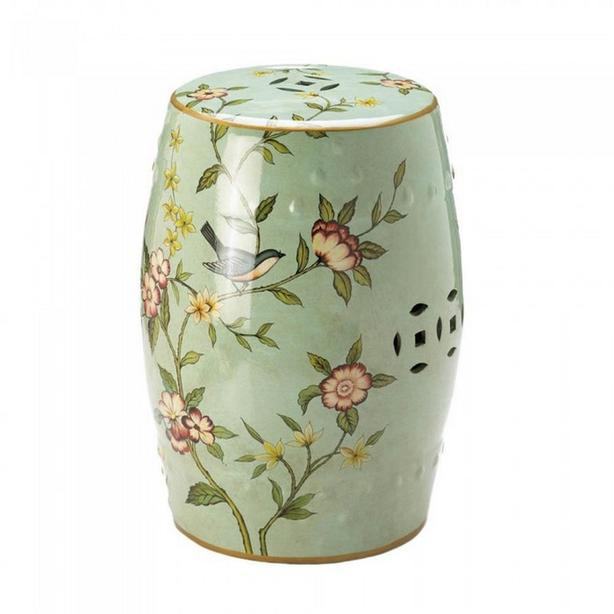 Ceramic Stool Plant Stand Accent Table Soft Green Floral with Bluebirds
