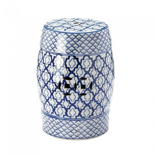 Blue & White Ceramic Stool Plant Stand Accent Table Indoor Outdoor