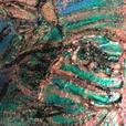 Abstract Oil on Canvas by Anup Singh Brilliant Golds, Blues & Greens