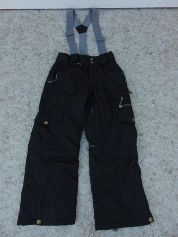 Snow Pants Child Size 7-8 Firefly Black Grey With Removeable Straps Snowboarding