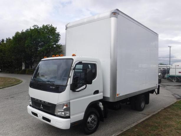 2008 Mitsubishi Fuso FE 14 Foot Cube Van Diesel 3 Passenger with Power Tailgate