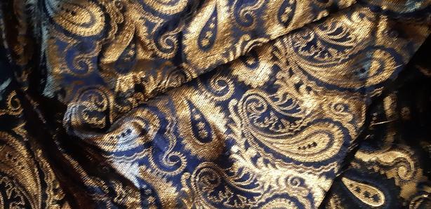 Gold Blue Metallic Fabric