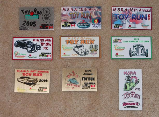Manitoba Street Rod Association MSRA Toy Run Dash Plaque collection - 9 pcs