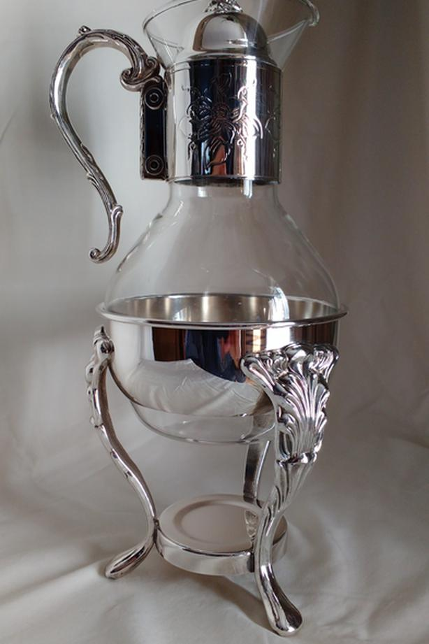 Vintage Glass and silver beverage decanter and warmer