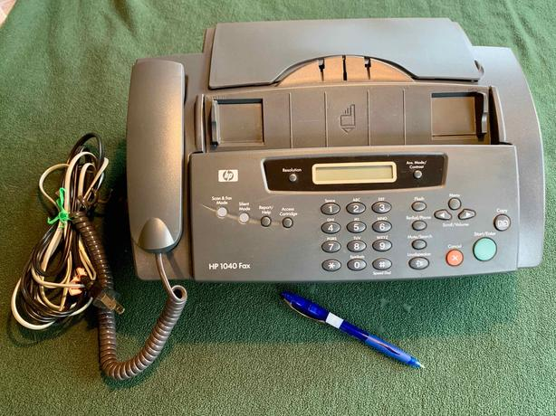 Fax machine, inkjet plain paper. Fax, print, copy, scan, phone. $10