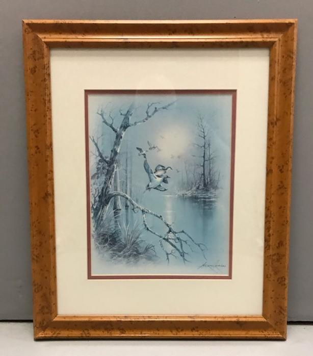 "Print Ducks in Flight Wood Frame, Matting & Glass 23"" x 19"" Andres Orpinas"