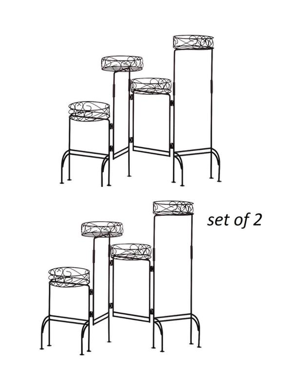 4-Tier Black Metal Screen-Style Plant Stand Brand New Set of 2