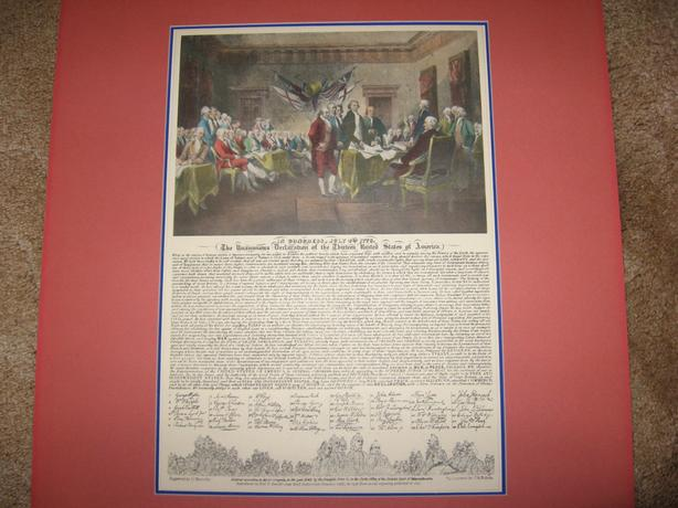 American Declaration of Independence print dated 1936