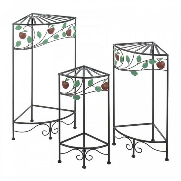 3PC Black Metal Plant Stand Set with Apple Branch Detailing Brand New