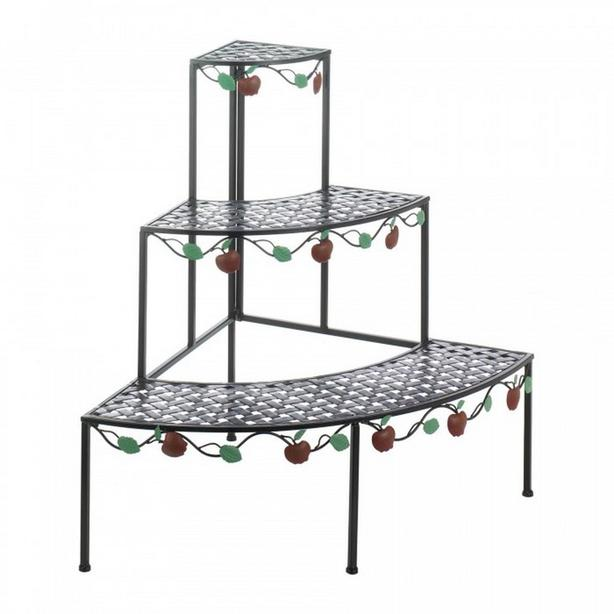"""3-Tier Black Metal Plant Stand Triangular with Apple Branch Detailing 33"""" Tall"""