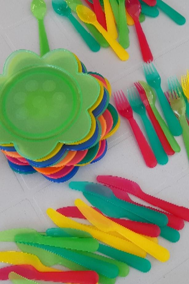 Plastic IKEA plates and cutlery
