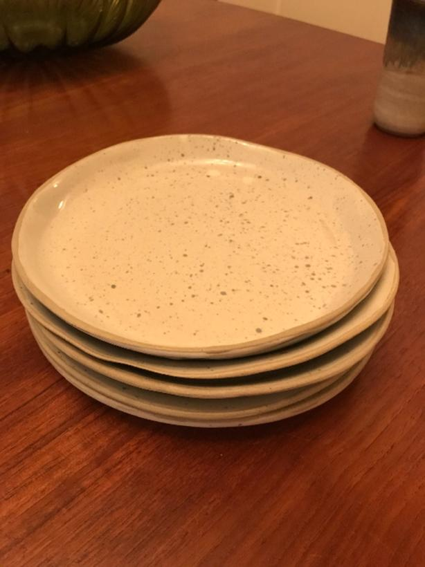handmade pottery - speckled plate set