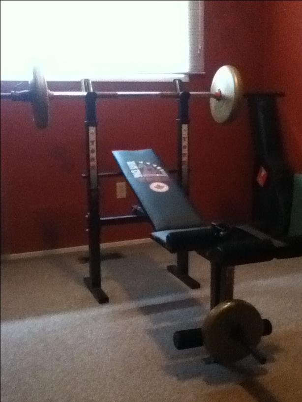 weight bench and free weights for sale