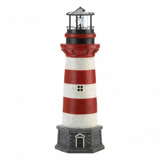 "Red Striped Solar Lighthouse Yard Statue 21"" Tall Brand New"
