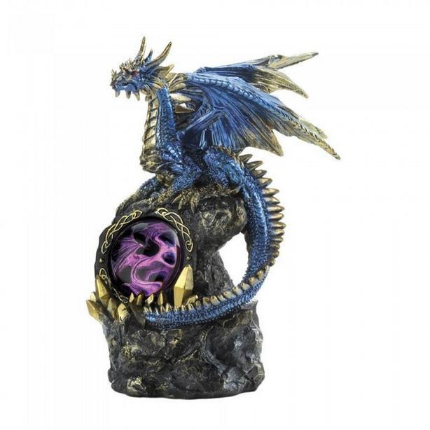Blue Dragon Figurine Statue LED Metallic 3 Diff + Dragon Eye Trinket Box 4PC Mix