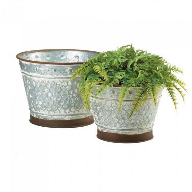 Rustic Country Aged Metal Flower Pot Planter Painted Brown Trim Lg & Sm 2PC Set