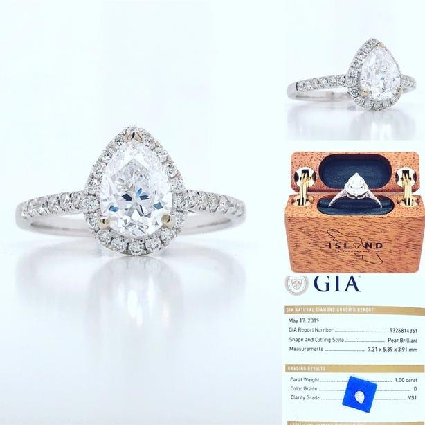 New: 18k White Gold 1.30tcw Pear Shape Diamond Engagement Ring Appraised $13,310