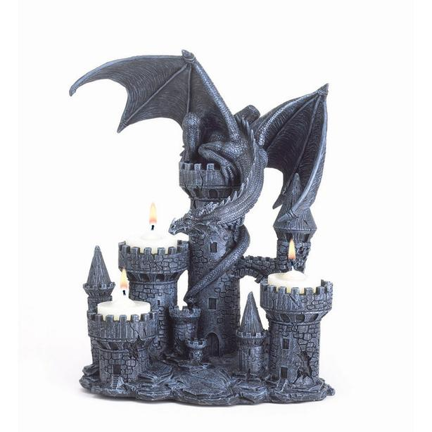Medieval Dragon Castle Candleholder & Goblets 3PC Mixed Lot NEW