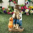 Little Boy Figurine Solar Yard Statue 2 Styles Mixed Brand New