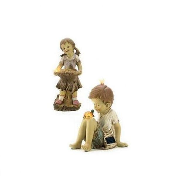 Cute Kids Girl & Boy Solar Figurine Yard Statue 2 Lot Choice Mix & Match NEW