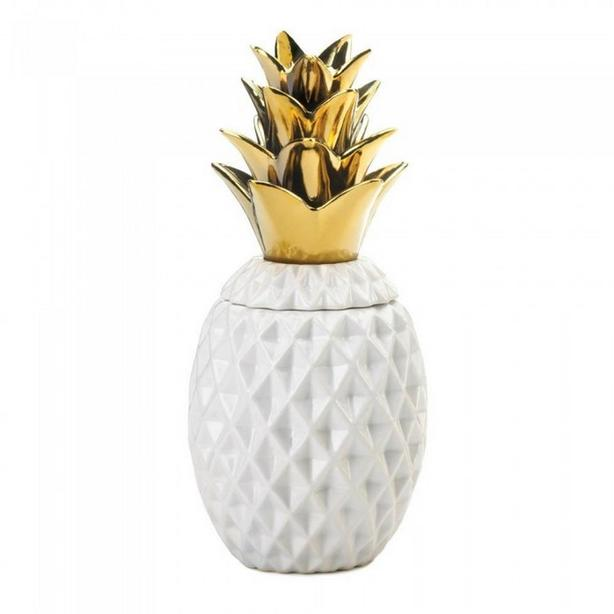 Gold Top Pineapple Table Lamp Matching Decorative Jar Figural Candle 3PC Mixed