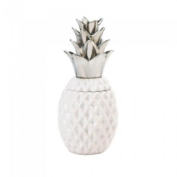 Silver Top Pineapple Table Lamp Matching Decorative Jar Figural Candle 3PC Mixed