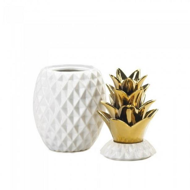 Gold Pineapple Cage Candleholder & Jar with Gold Spiked Top 2PC Mixed Lot