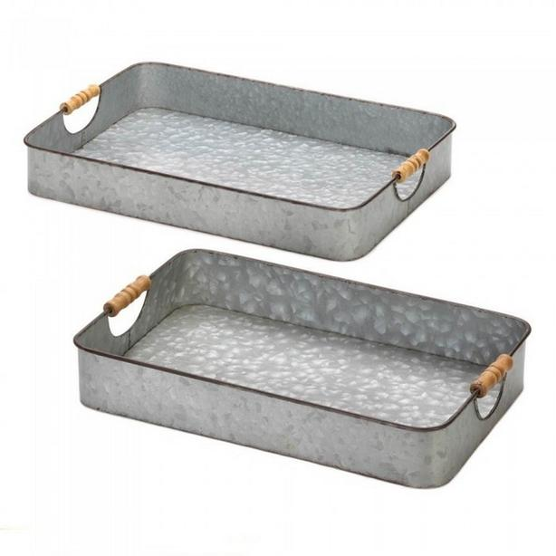 2PC Rustic Metal Serving Tray Set Large & Small with Wood Handles NEW