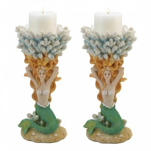 Mermaid Figurine Pedestal Candleholder Candlestick Set of 2 Brand New