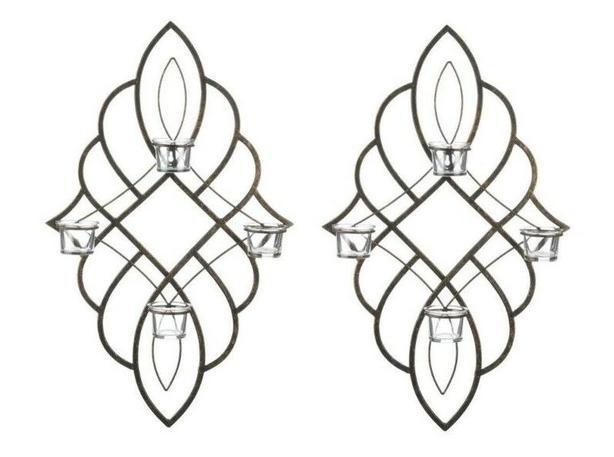 "23"" Black Metal Tealight Candleholder Wall Sconce Set of 2 Brand New"