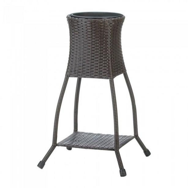 Indoor Outdoor Wicker Rattan Plant Stand Planter with Shelf & Removable Liner