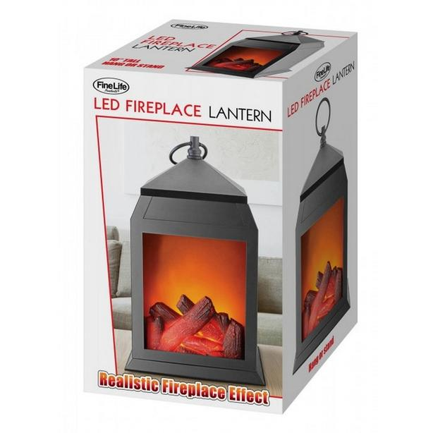 """Indoor Outdoor 10"""" Cottage Chic LED Lantern with Burning Fireplace Scene 3 Lot"""