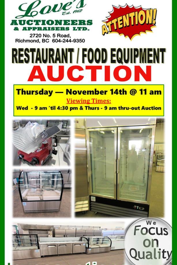 RESTAURANT FOOD EQUIPMENT AUCTION - THURS. NOV 14th @ 11 am