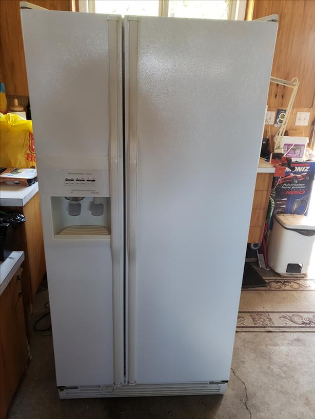 Kitchenaid KSRS22F white side by side fridge