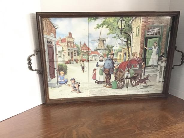 Tiled signed tray