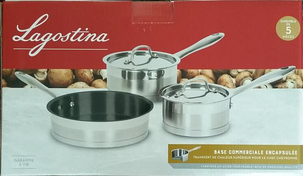 Lagostina 3-Ply Commercial Clad Cookware Set 5 Pieces