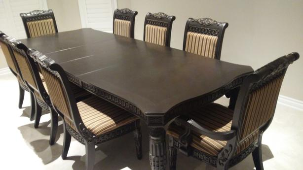 Dining room set - 9 piece, high end solid wood set in espresso colour