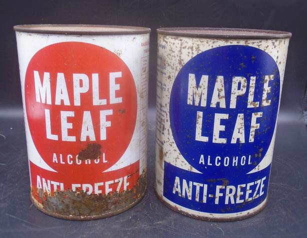 VINTAGE 1940's MAPLE LEAF ANTI-FREEZE IMPERIAL QUART CANS