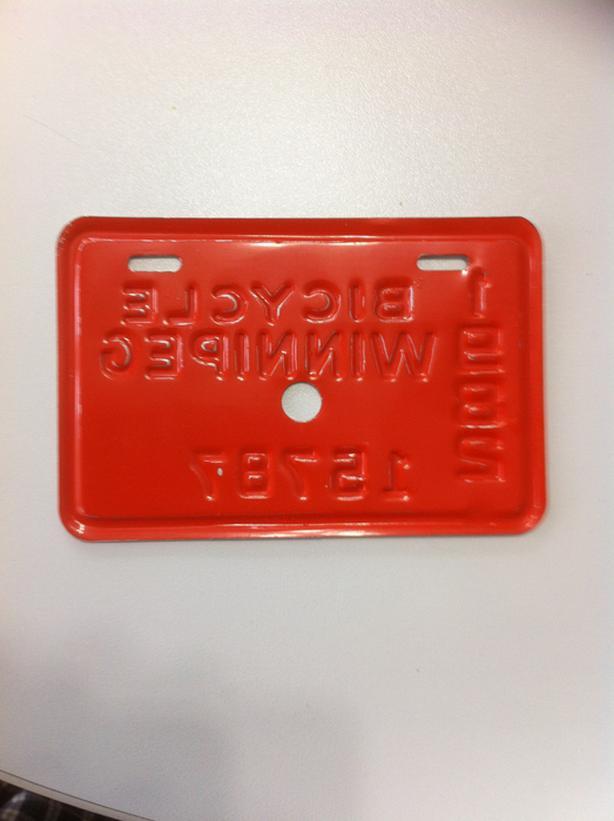 1982 Winnipeg Bicycle License Plate