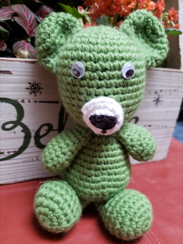 Brand New Totally Hand Crochet Very Cute Unisex Green Color Teddy Bear